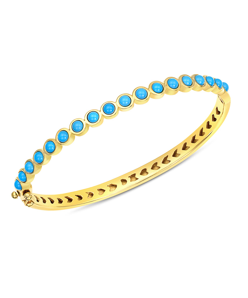 Small Cabochon Turquoise Hinged Bracelet