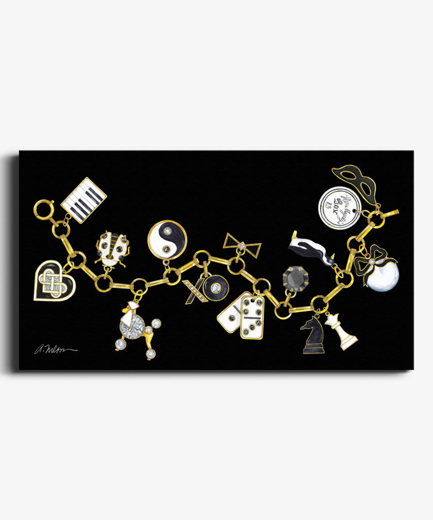 Black & White Charm Bracelet Watercolor Rendering on Canvas