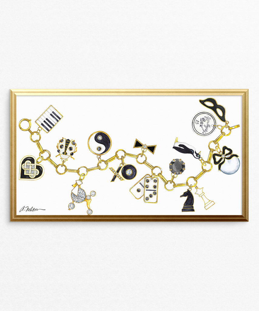 Black & White Charm Bracelet Watercolor Rendering printed on Paper