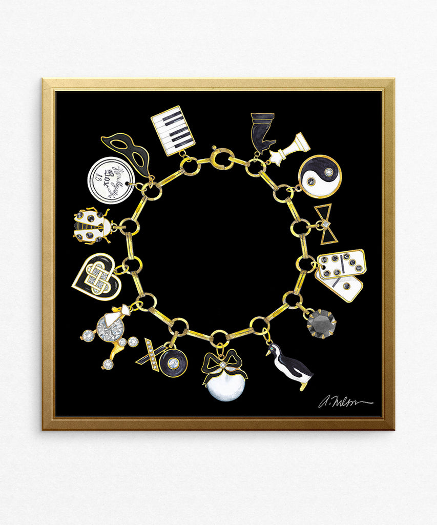 Black & White Charm Bracelet (Square) Watercolor Rendering printed on Paper