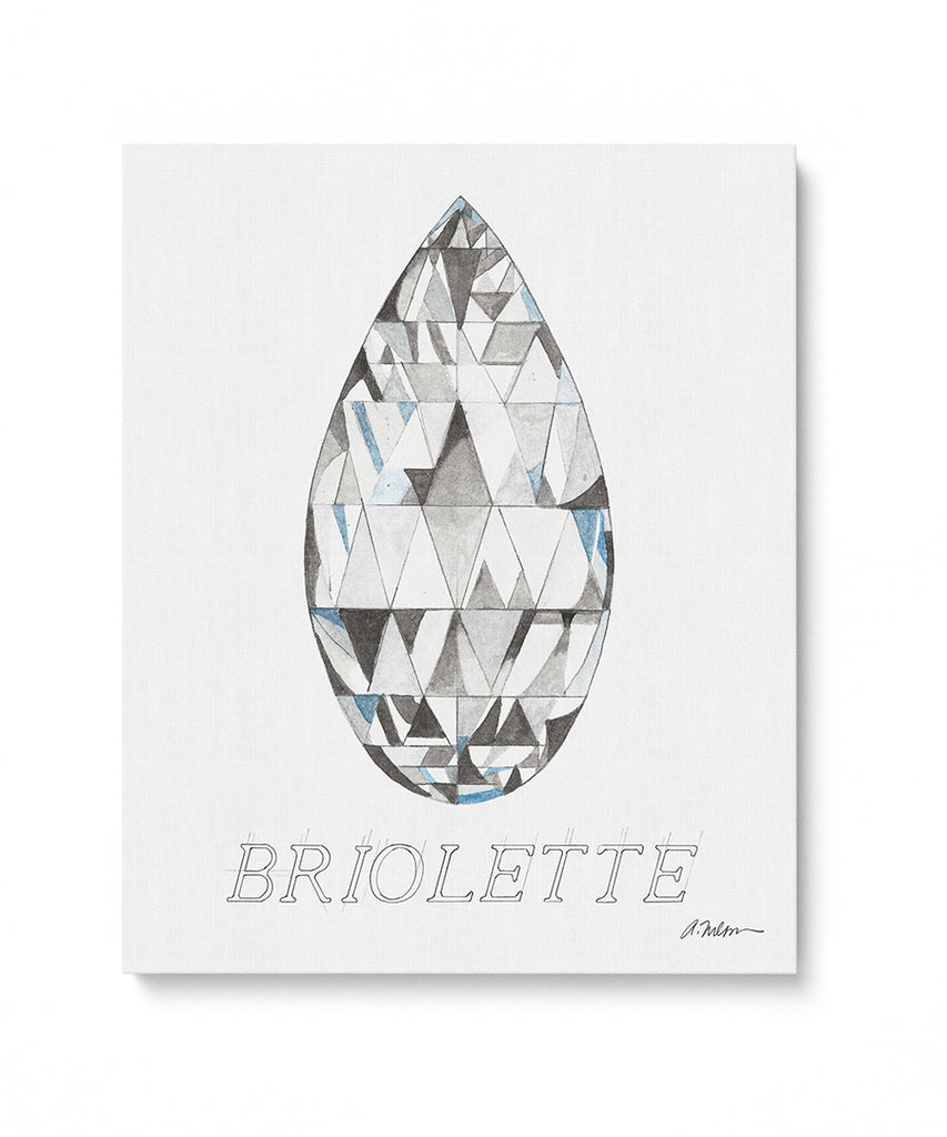 Briolette Diamond with Name Watercolor Rendering printed on Canvas