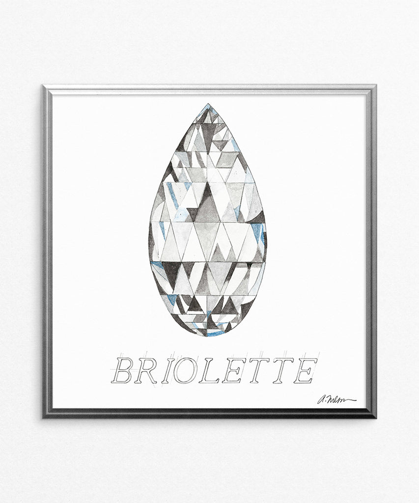 Briolette Diamond with Name Watercolor Rendering printed on Paper