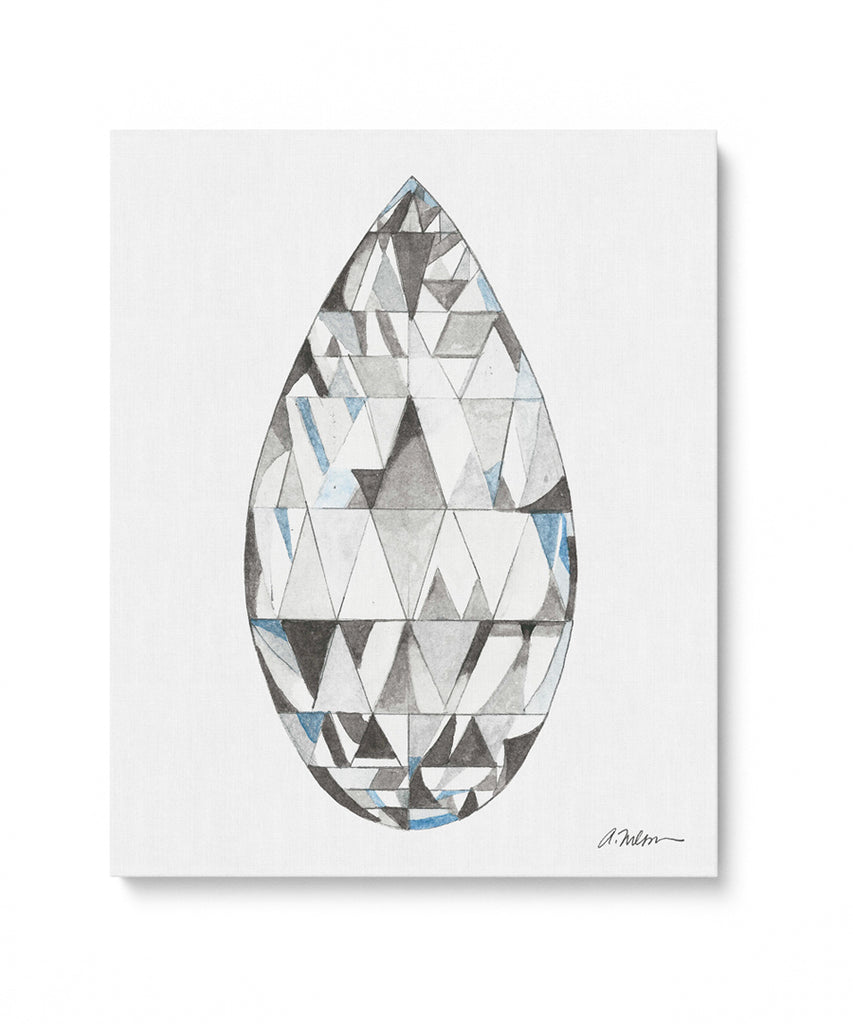 Briolette Diamond Watercolor Rendering printed on Canvas