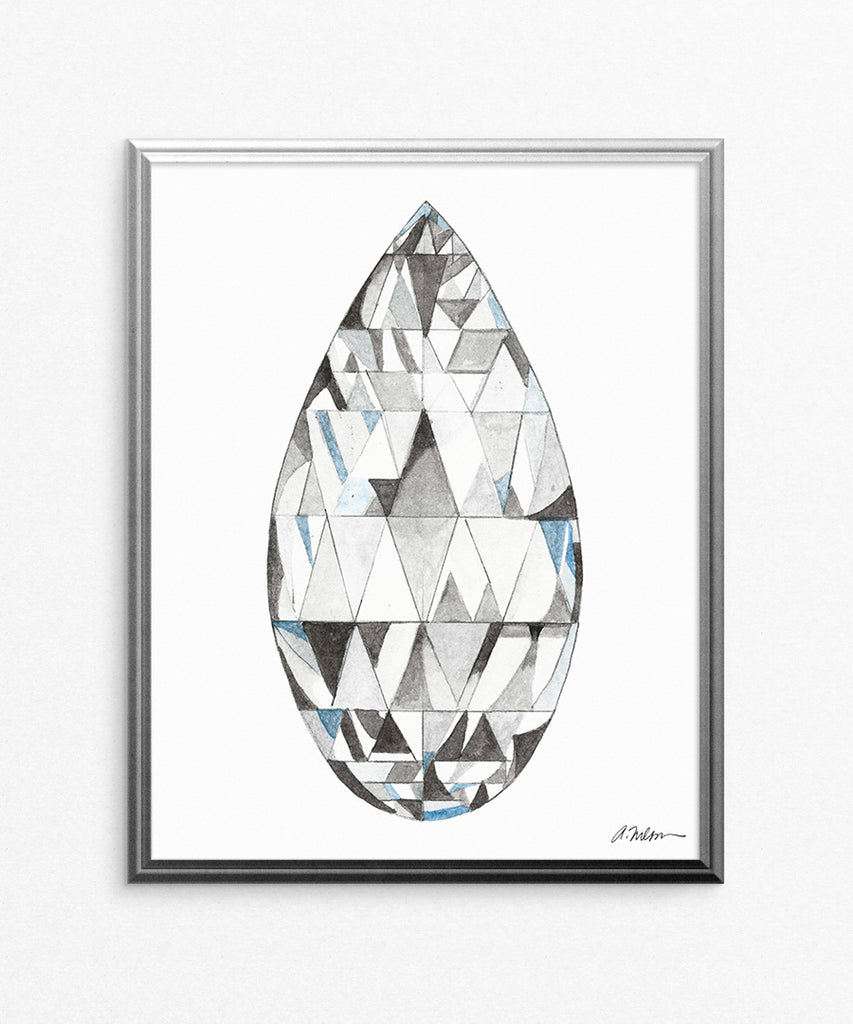 Briolette Diamond Watercolor Rendering printed on Paper