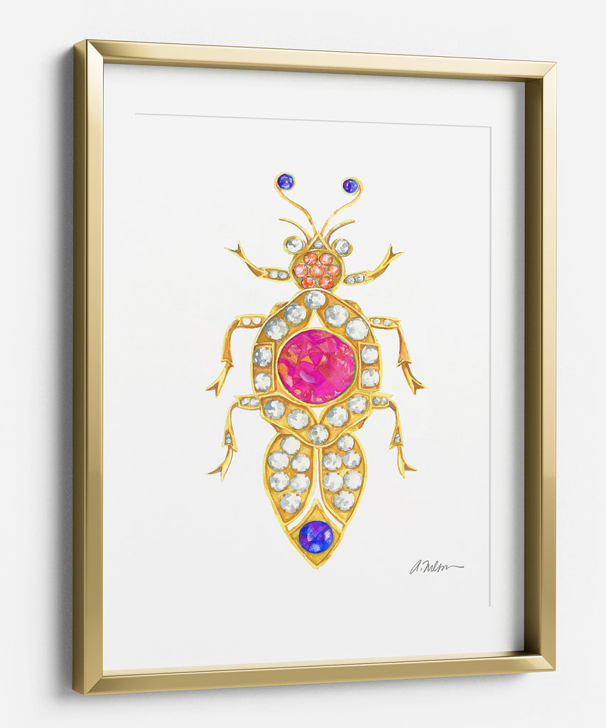 Bug Brooch Watercolor Rendering in Yellow Gold on Paper