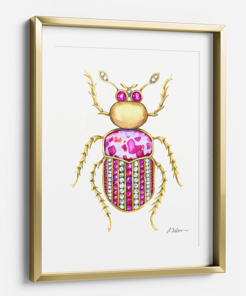 Bug Brooch Watercolor Rendering in Yellow Gold and Jasper printed on Paper