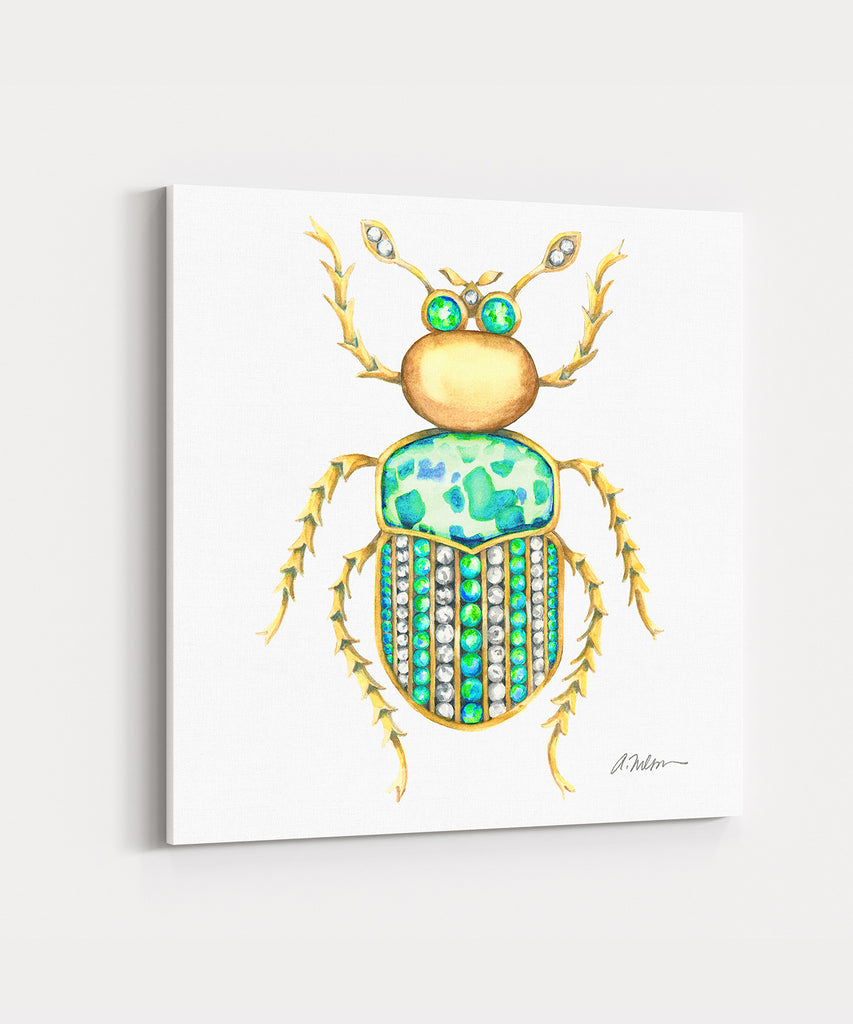 Bug Brooch Watercolor Rendering in Yellow Gold and Jasper printed on Canvas