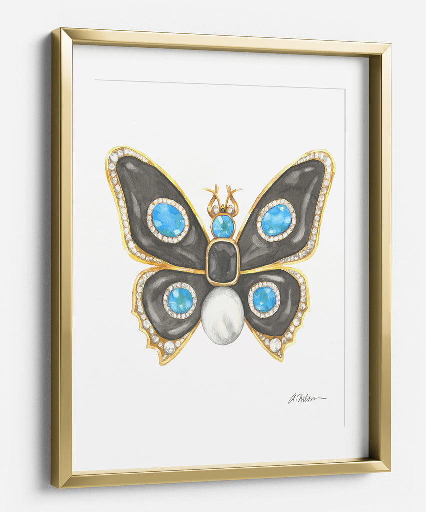 Butterfly Brooch Watercolor Rendering in Yellow Gold with Black Onyx, Diamonds, and Pearl printed on Paper