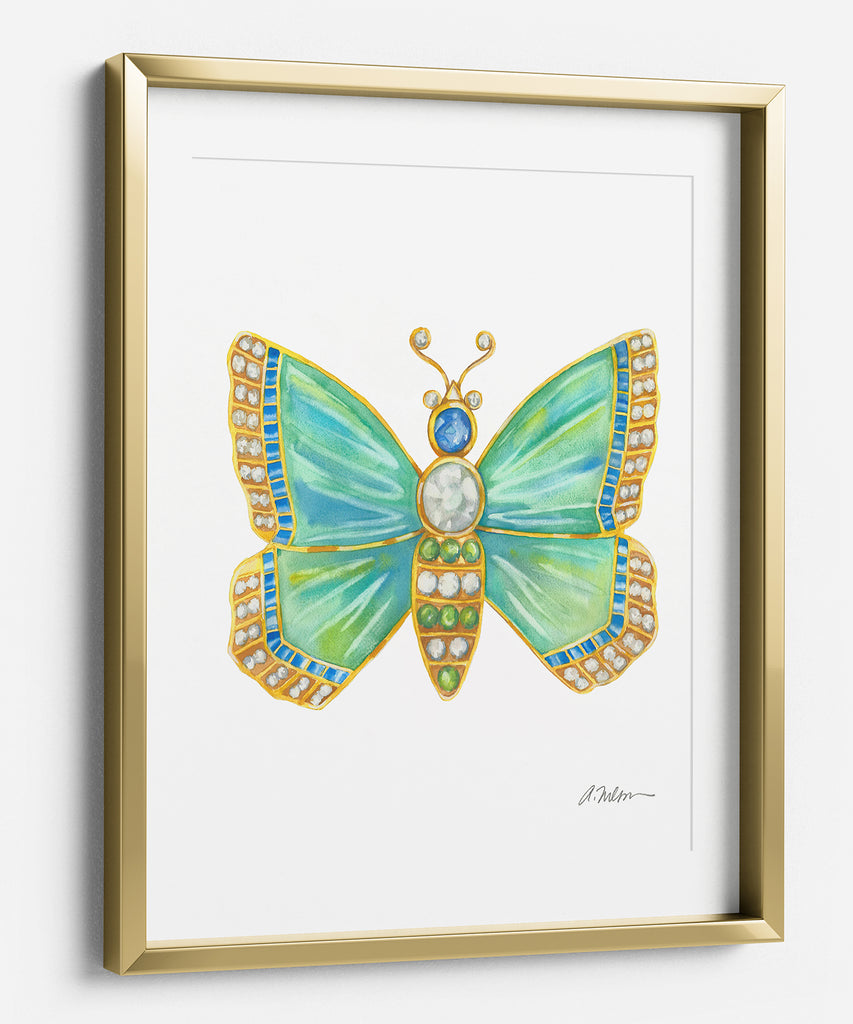 Butterfly Brooch Series I Watercolor Rendering printed on Paper