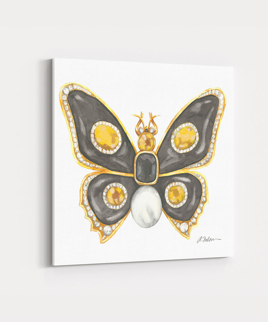 Butterfly Brooch Watercolor Rendering in Yellow Gold with Black Onyx,  Diamonds, and Pearl printed on Canvas