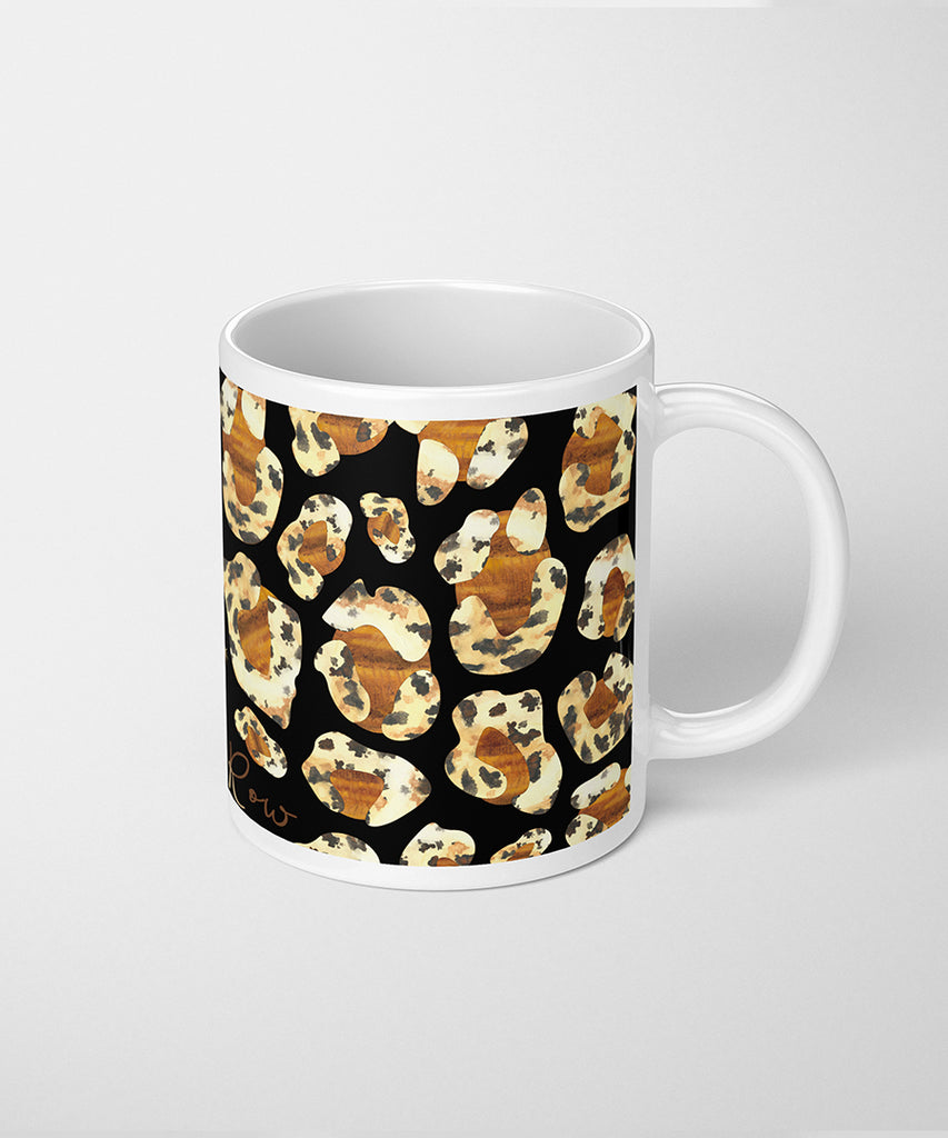 Leopard Print Coffee Mug with Tigers Eye & Dalmatian Jasper