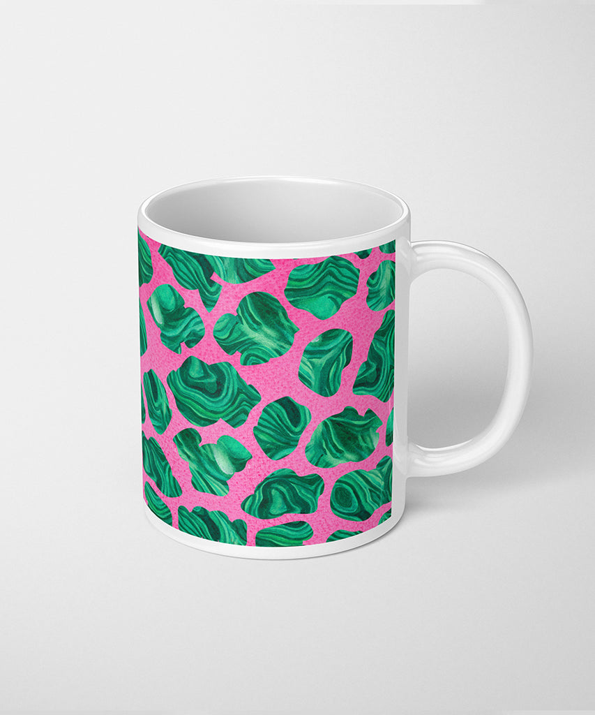 Cheetah Print Coffee Mug with Malachite