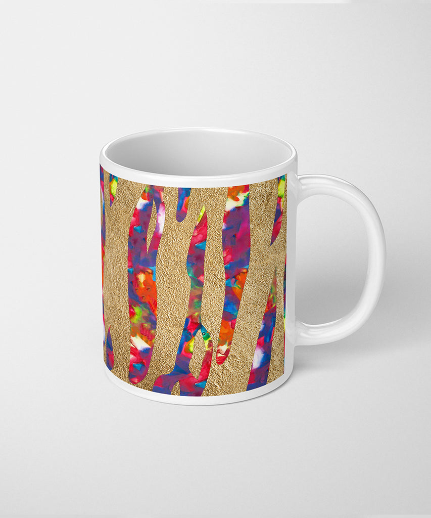 Tiger Print Coffee Mug with Opal & Gold Leaf