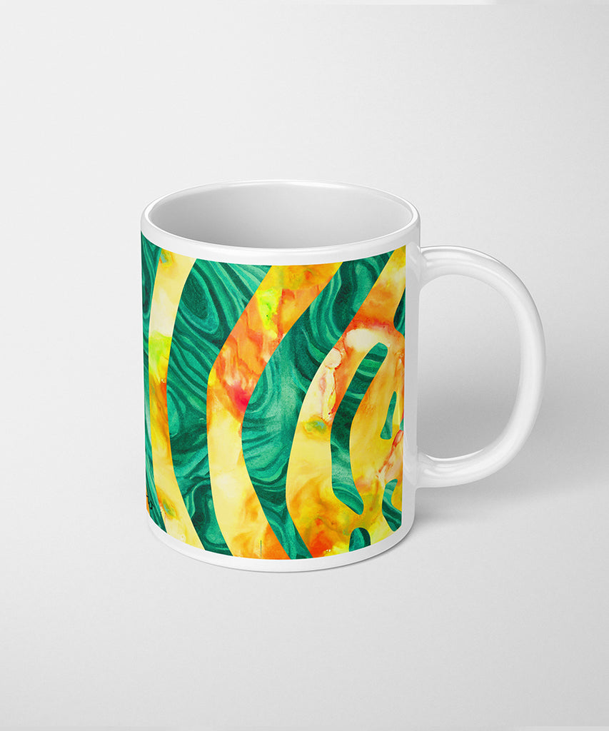 Zebra Coffee Mug with Malachite & Opal