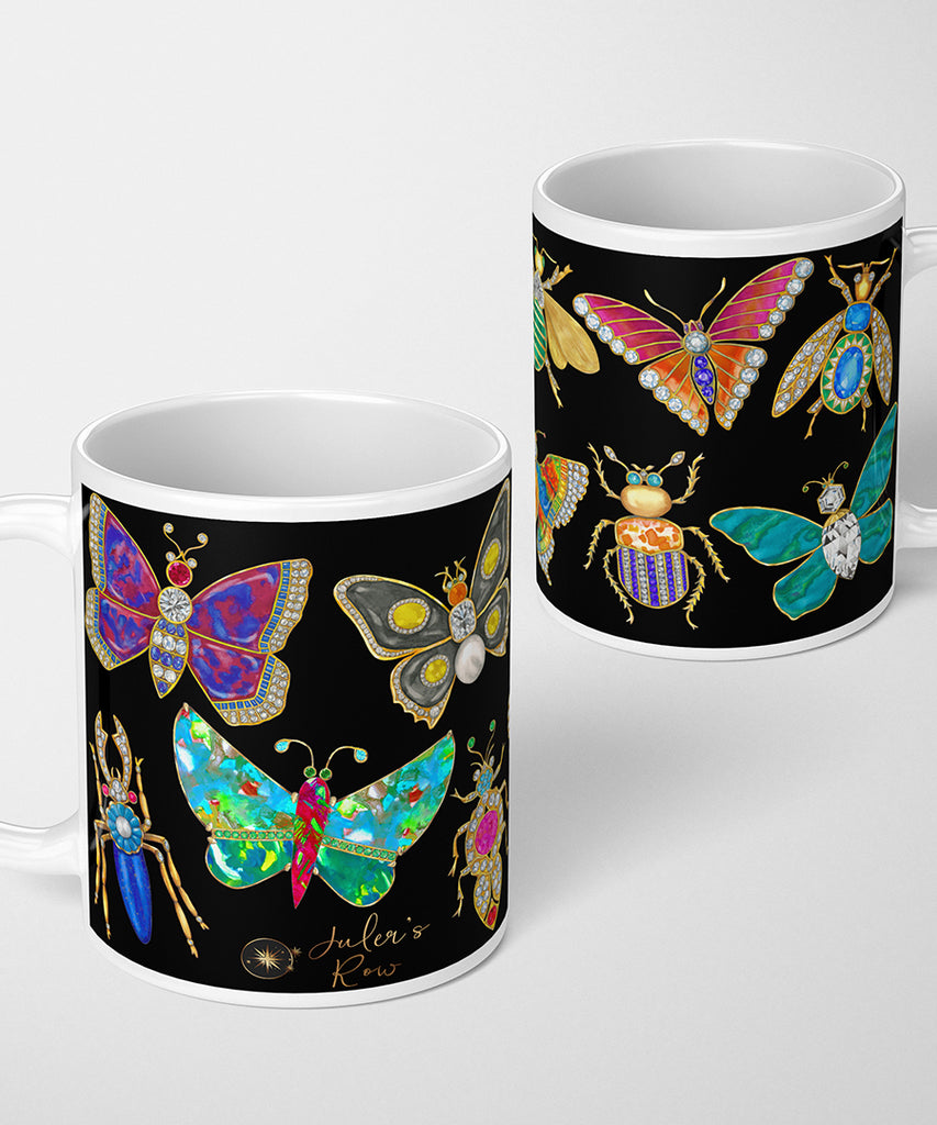 Butterfly & Bug Brooch on Black Coffee Mug