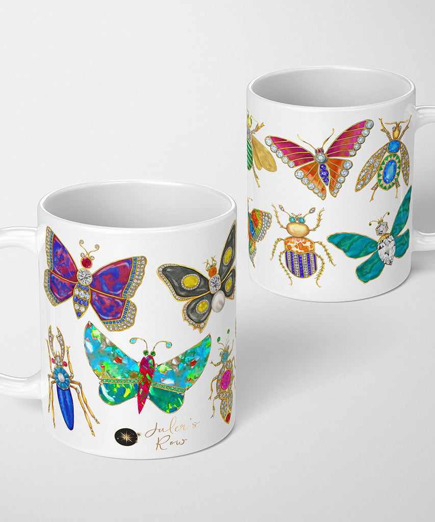 Butterfly & Bug Brooch on White Coffee Mug
