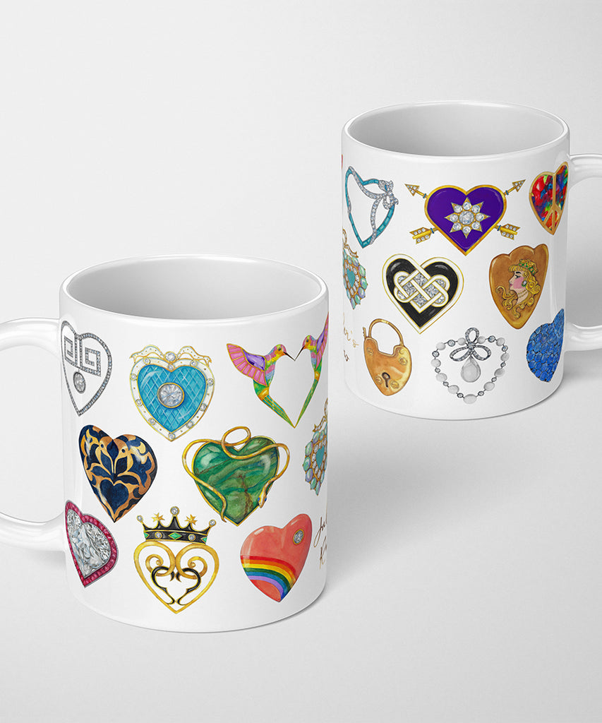 Jeweled Hearts Coffee Mug