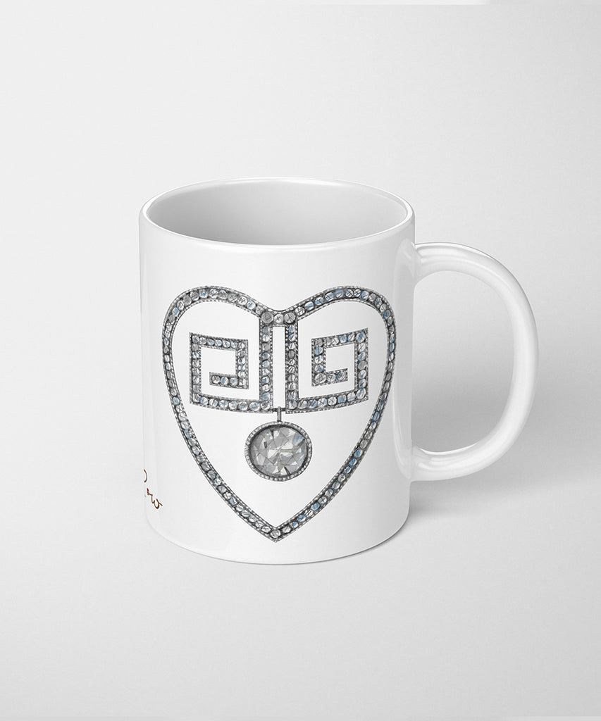 Greek Style Heart Coffee Mug