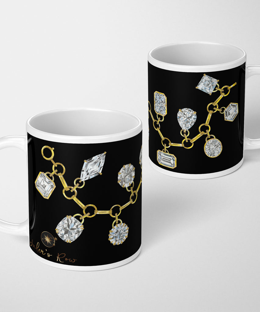 Diamond Charm Bracelet on Black Coffee Mug