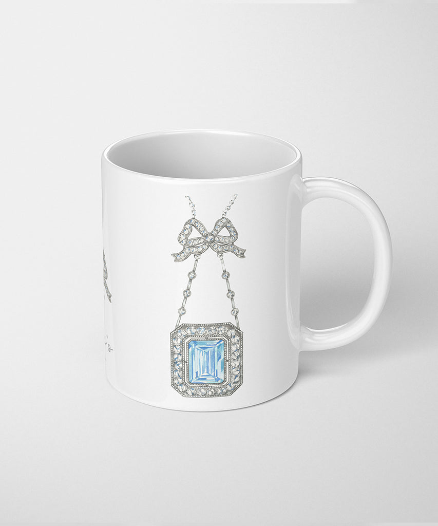 Aquamarine Bow Necklace Coffee Mug