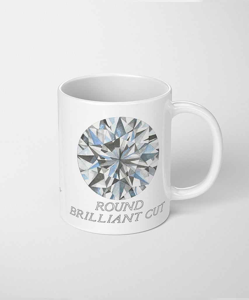 Round Brilliant Cut Diamond Coffee Mug