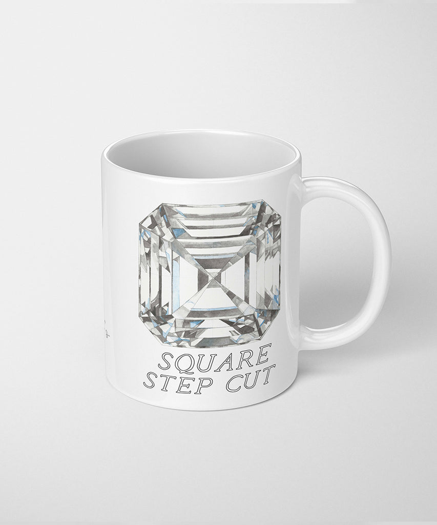 Square Step Cut Diamond Coffee Mug