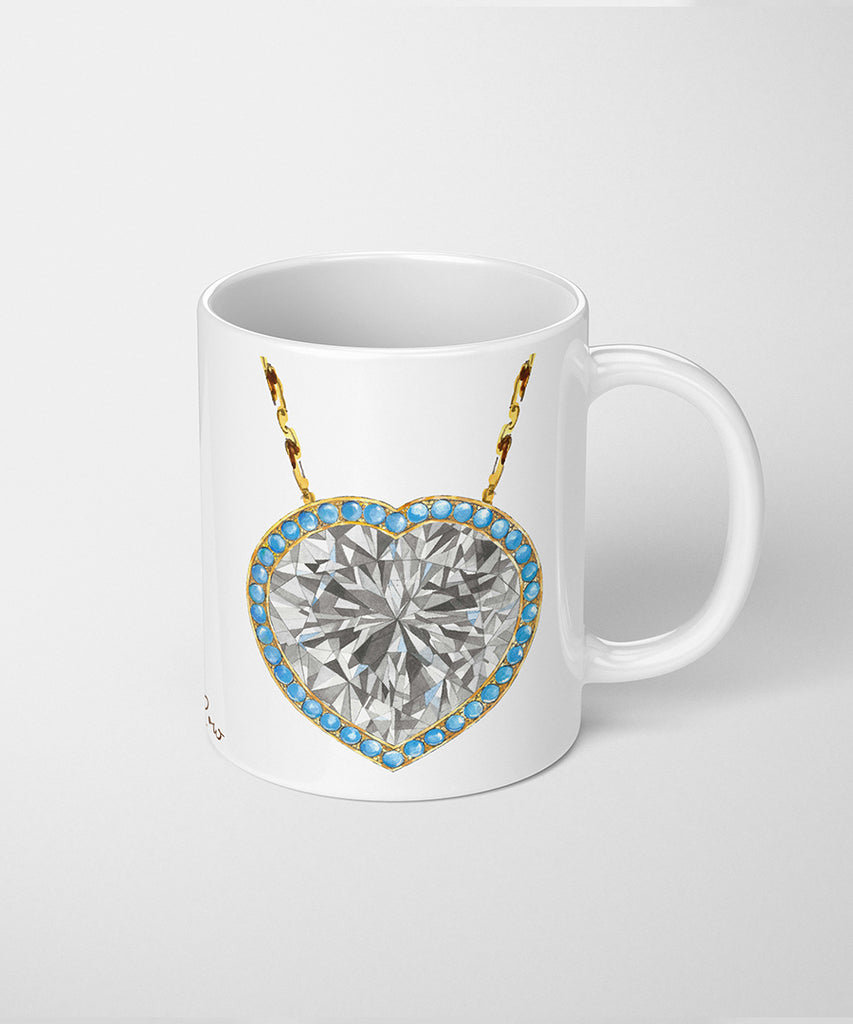 Heart Diamond & Turquoise Necklace Coffee Mug