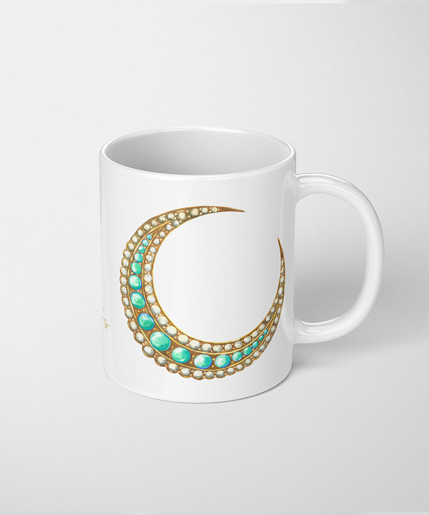 Turquoise & Pearl Crescent Moon Brooch Coffee Mug