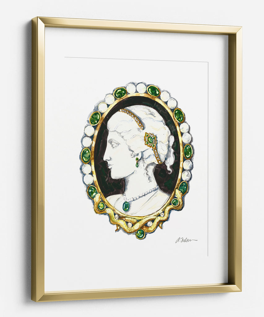 Cameo Brooch Watercolor Rendering in Yellow Gold with Agate, Emeralds, Diamonds and Pearls printed on Paper