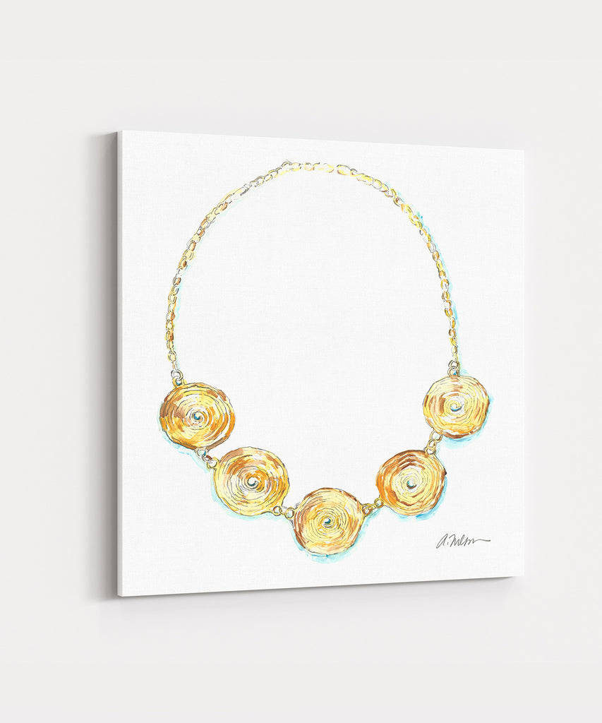 Coil Necklace Watercolor Rendering in Yellow Gold printed on Canvas