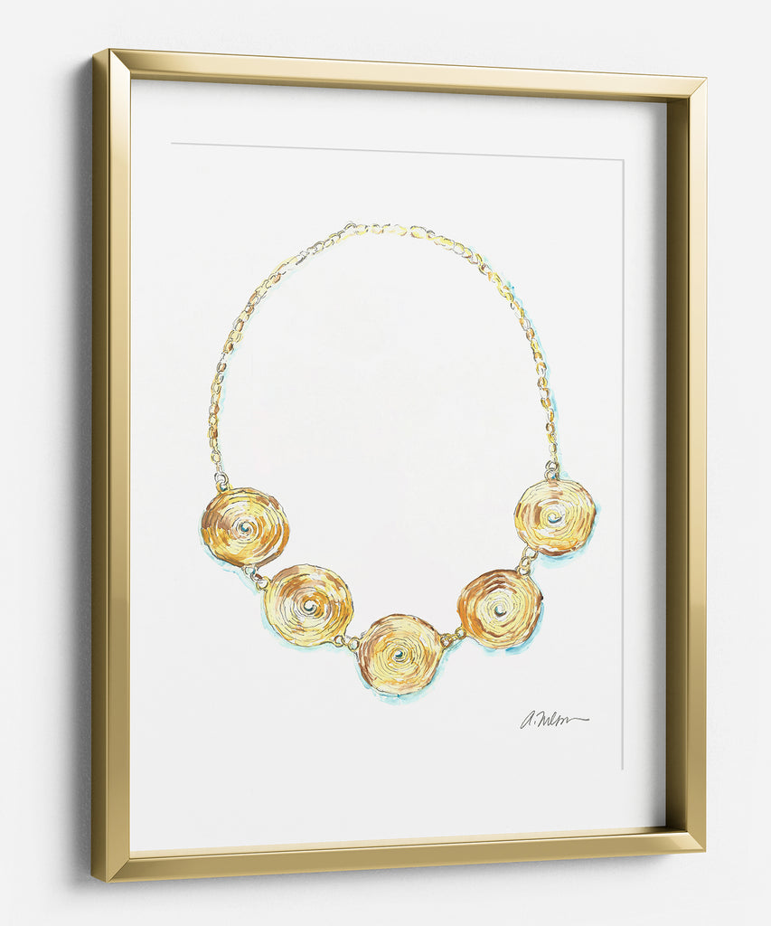 Coil Necklace Watercolor Rendering in Yellow Gold printed on Paper