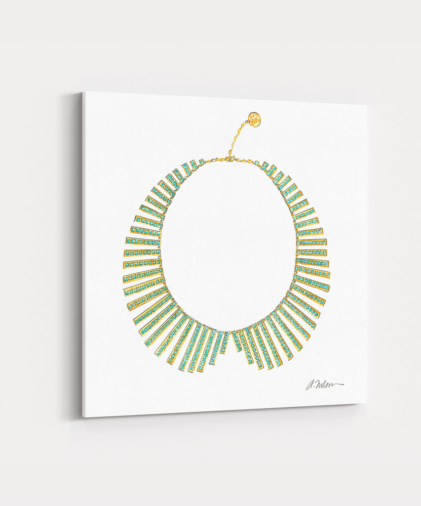 Collar Necklace Rendering in Yellow Gold on Canvas