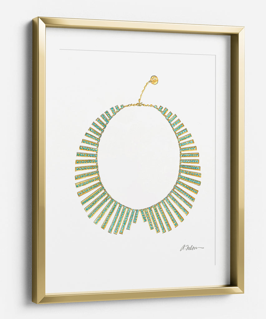 Collar Necklace Rendering in Yellow Gold on Paper
