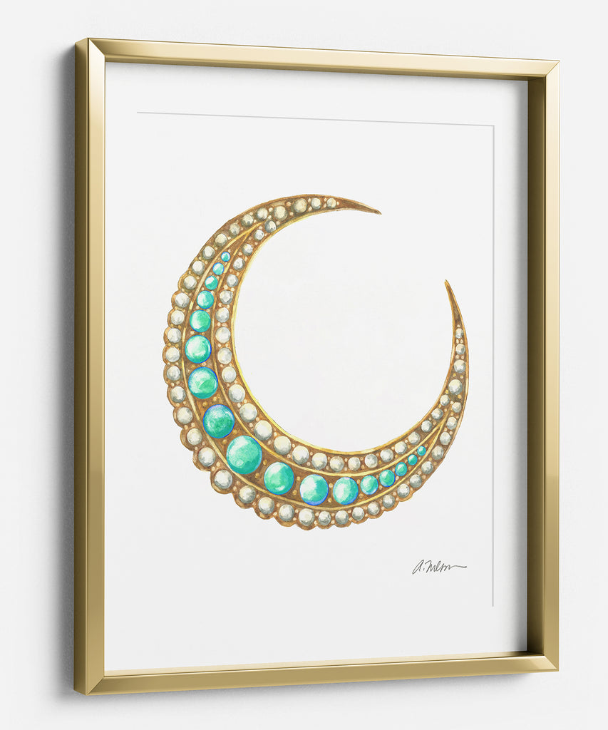 Victorian Crescent Moon Brooch Watercolor Rendering printed on Paper