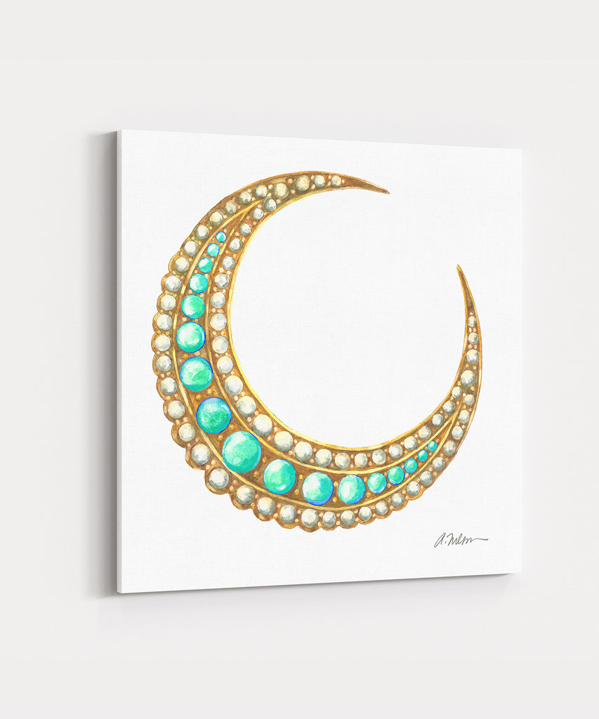 Victorian Crescent Moon Brooch Watercolor Rendering printed on Canvas