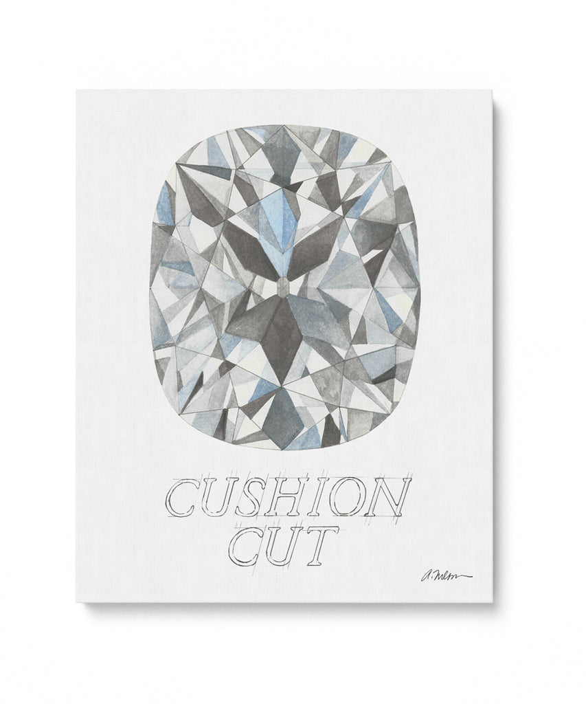 Cushion Cut Diamond with Name Watercolor Rendering printed on Canvas