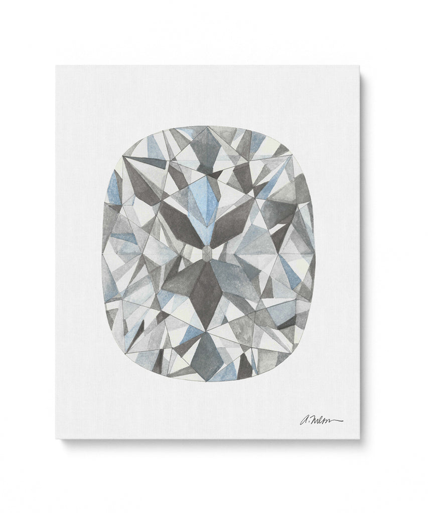 Cushion Cut Diamond Watercolor Rendering printed on Canvas