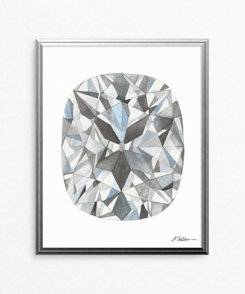 Cushion Cut Diamond Watercolor Rendering printed on Paper