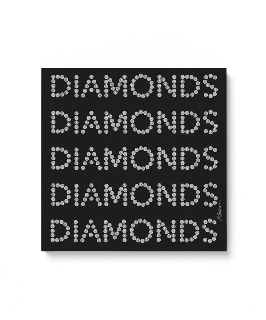 Diamond Series II on Black Watercolor Rendering printed on Canvas