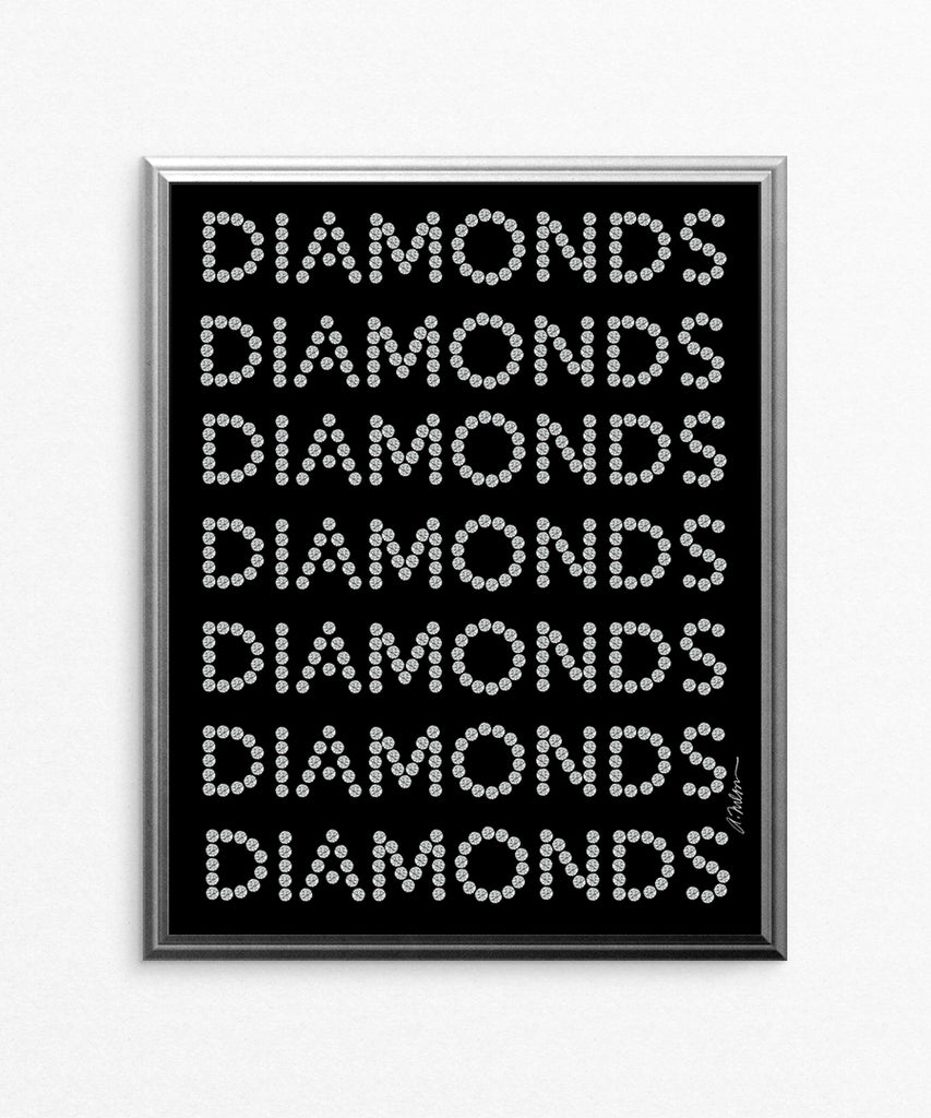 Diamond Series II on Black Watercolor Rendering printed on Paper