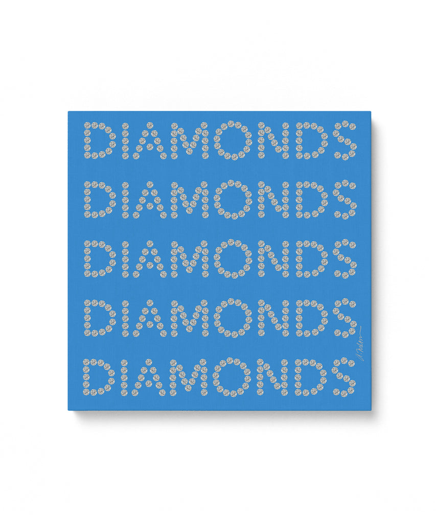 Diamond Series II on Blue Watercolor Rendering printed on Canvas