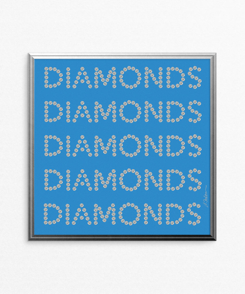 Diamond Series II on Blue Watercolor Rendering printed on Paper