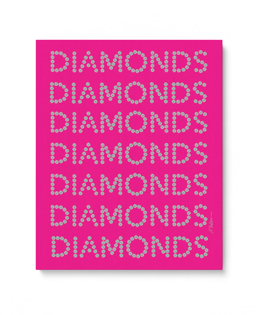 Diamond Series II on Pink Watercolor Rendering printed on Canvas