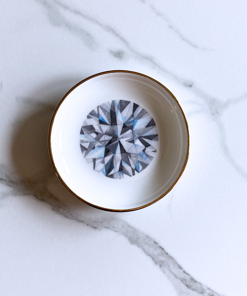 Old European Cut Diamond Ring Dish
