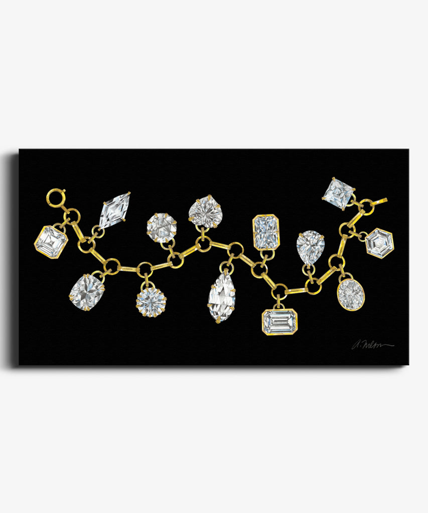 Diamond Charm Bracelet Watercolor Rendering on Canvas