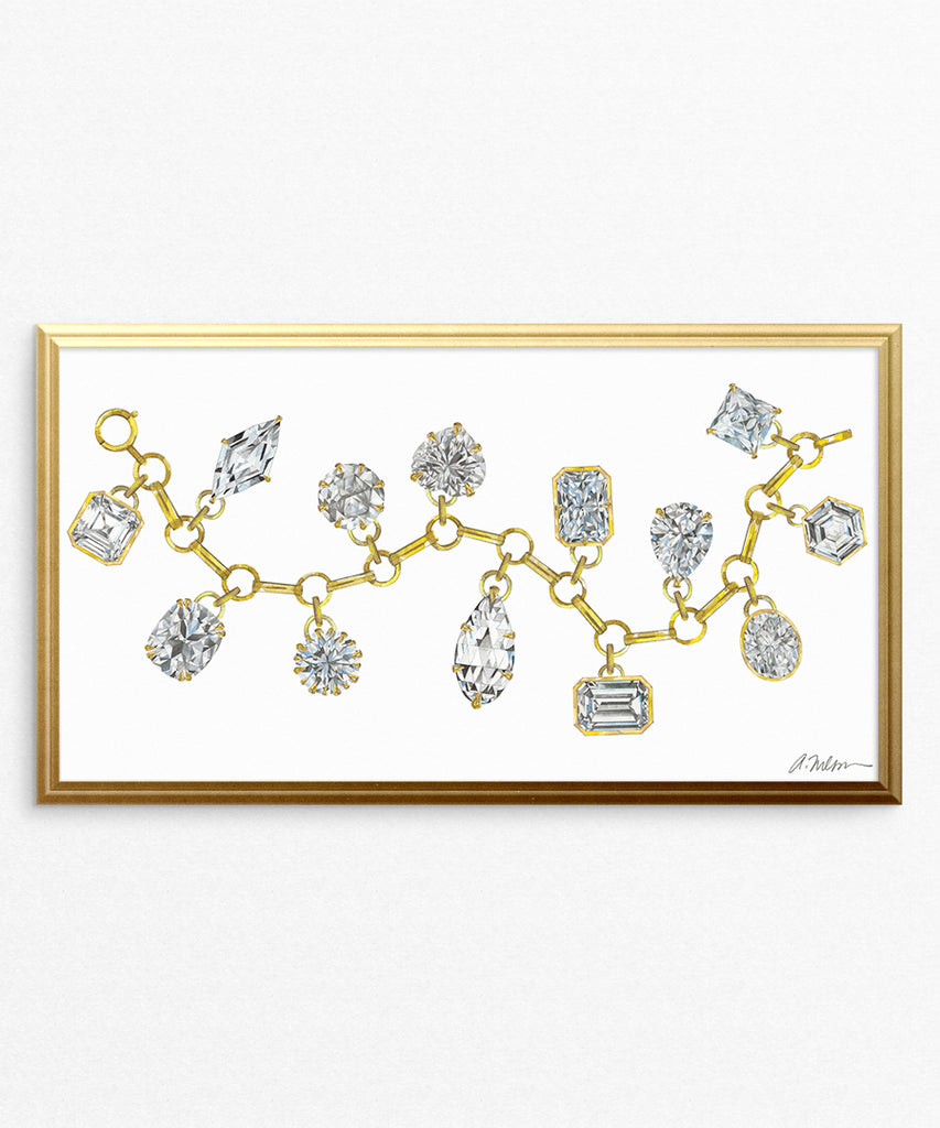 Diamond Charm Bracelet Watercolor Rendering printed on Paper