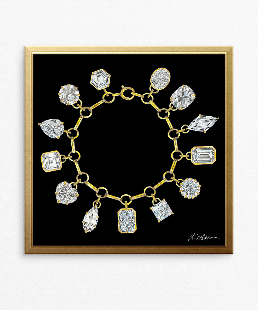 Diamond Charm Bracelet (Square) Watercolor Rendering printed on Paper