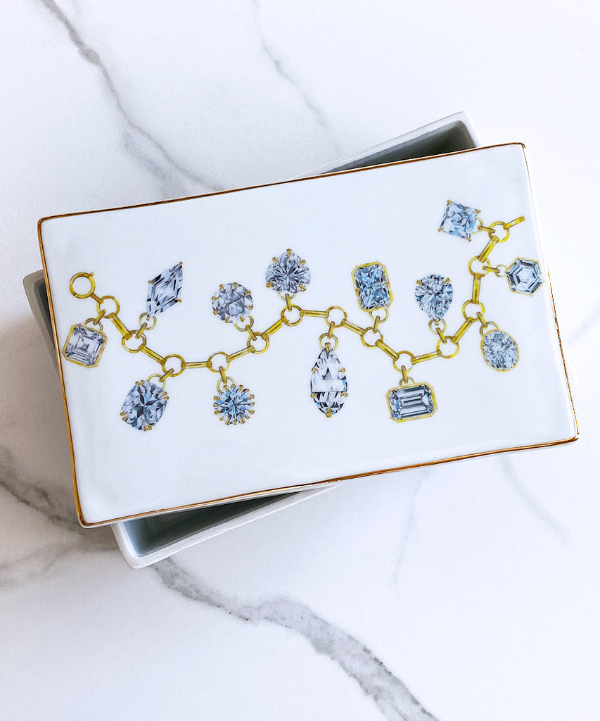 Diamond Charm Bracelet Porcelain Box