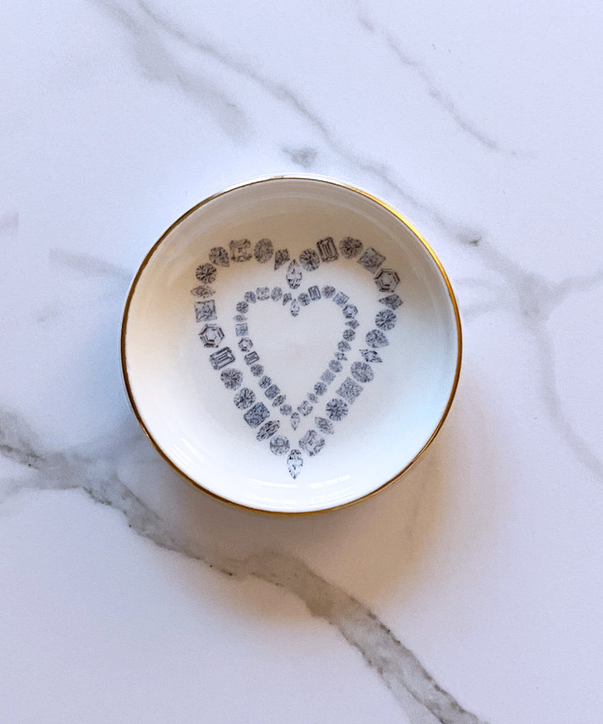 Diamond Hearts Porcelain Ring Dish