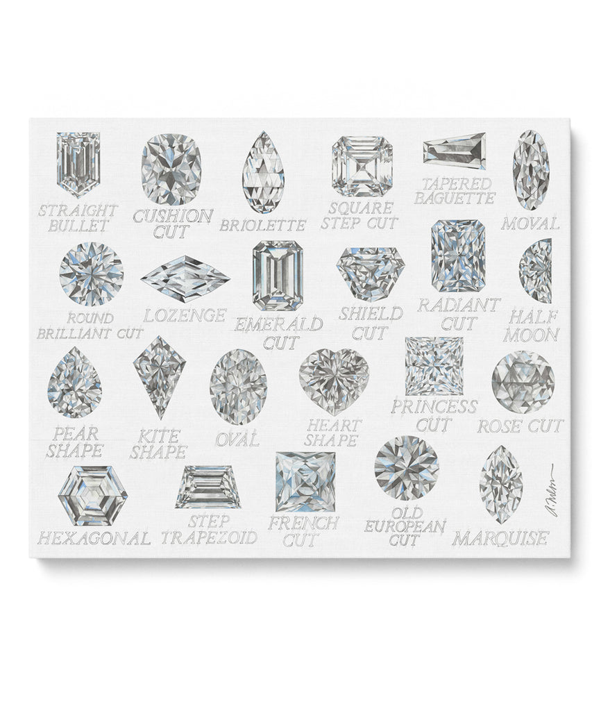 Diamond Shapes with Names Watercolor Rendering printed on Canvas